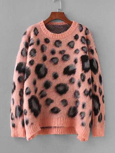 Leopard Pattern Drop Shoulder Mohair Jumper