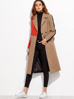 SHEIN Colorblock Double Breasted Coat