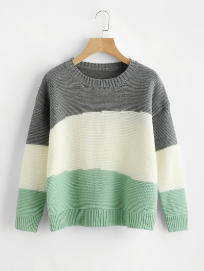 SHEIN Drop Shoulder Color Block Jumper