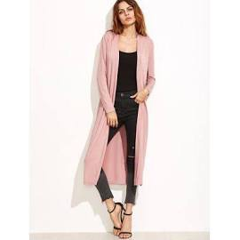 SHEIN Pink Collarless Longline Duster Coat